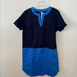 New Lands' End Navy/Turquoise Color Block Dress